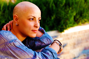 Beautiful Woman Who's Lost Her Hair Due to Chemotherapy