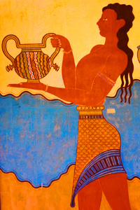 Ancient Greek Fresco Showing Woman Carrying a Pitcher (Like of Skin Care Ingredients Possibly Including Lanolin)